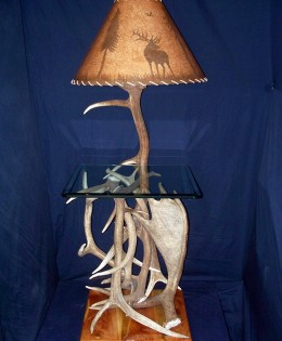 Elk and Moose Antler End Table with Lamp attached