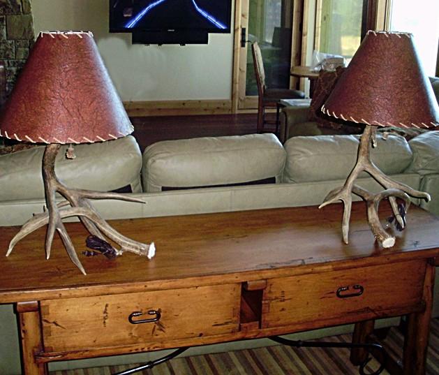 Small, 2-antler Mule Deer Table Lamps