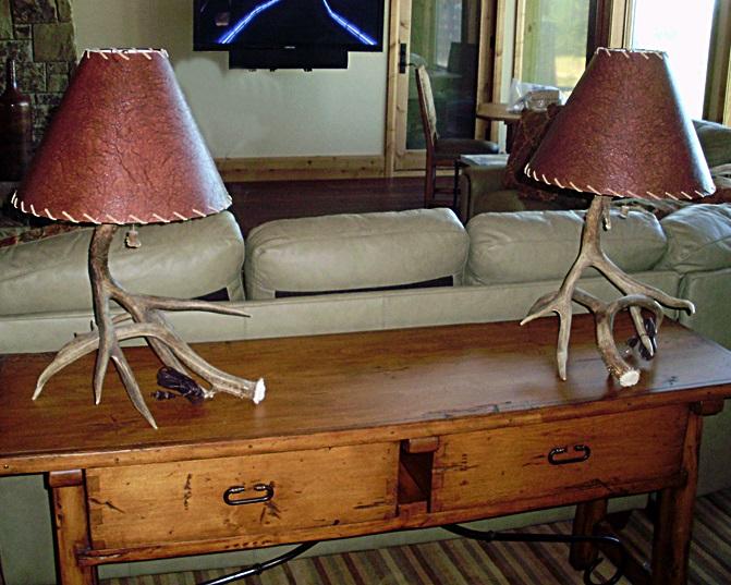 Small, 2 Antler Mule Deer Table Lamps