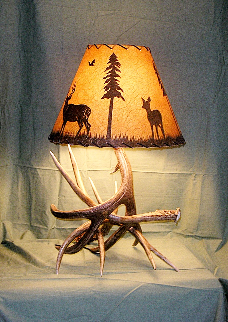 mule deer table lamps 4 antlers shade included 25 28 t 15